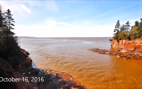 Incredible high to low tide time lapse in Nova Scotia