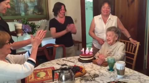 Hilarious Moment Happens As 102 Year-Old Blows Out Candles On Her Birthday