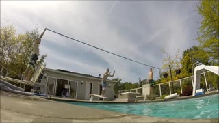 Jump high stick faceplants water - Video