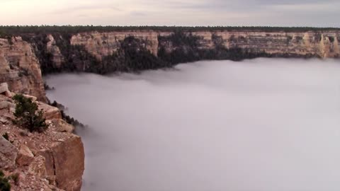 Clouds fill Grand Canyon during rare weather event
