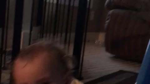17 month old Baby fails at the slide