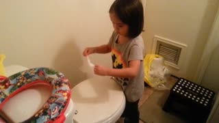 Little girl caught cleaning the washroom, BUT WHY? - Video