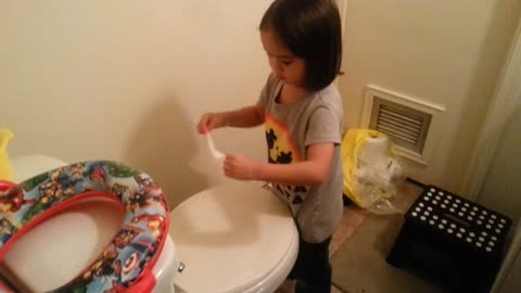 Little girl caught cleaning the washroom, BUT WHY?