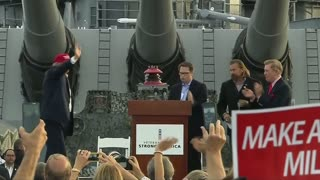Trump addresses crowds from the USS Iowa - Video