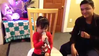 Little Girl Singing Song With Her Father | Super Cute | - Video
