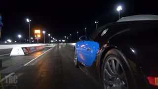 Rare footage featuring Bugatti Veyron 1/4 mile drag race - Video