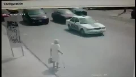 Road crosser old man by car driver