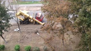How the trees removed during road widening. - Video