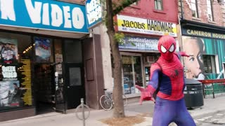 Spider-Man caught skateboarding in Toronto - Video