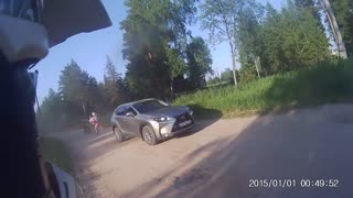 Biker vs Drunk Car Driver (Alternate Angle) - Video