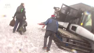 Moment BBC crew caught up in Mount Etna volcano eruption - BBC News - Video
