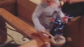 Collab copyright protection - little girl drum singing falls down - Video