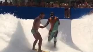 Two guys artificial surging fall