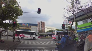 Talented Street Juggler Entertains During Red Light