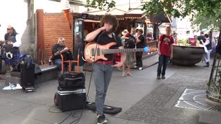 Busking Bass Player Works Miracles With A Loop Pedal
