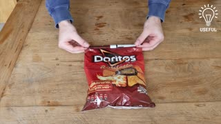 How to seal a bag of chips without a clip - Video