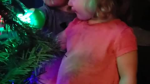 Little boy completely fascinated by Christmas lights