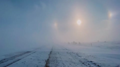 Sun Dog Spotted During Ground Blizzard