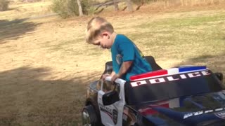 Little Boy Pretends To Take Sobriety Test To Drive Power Wheels Car - Video