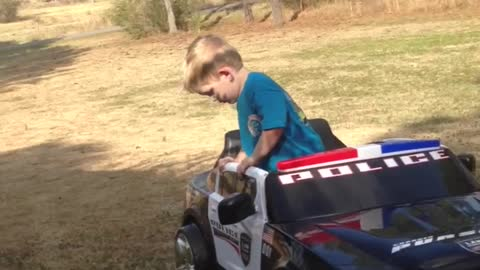 Little Boy Pretends To Take Sobriety Test To Drive Power Wheels Car