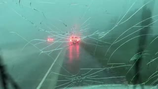 Hail Storm Wrecks Truck's Windshield
