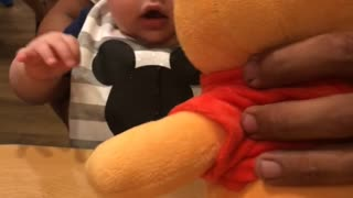 Baby Comes Face to Face with Winnie the Pooh Plushie