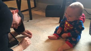 WARNING - Contagious Laughter! Baby in Superman Onesie Laughing Hilarously At Daddy  - Video