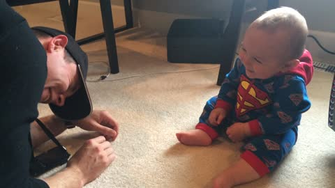 WARNING - Contagious Laughter! Baby in Superman Onesie Laughing Hilarously At Daddy