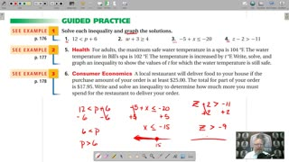 Algebra 1 - Chapter 3, Lesson 2 - Solving Inequalities by Adding or Subtracting