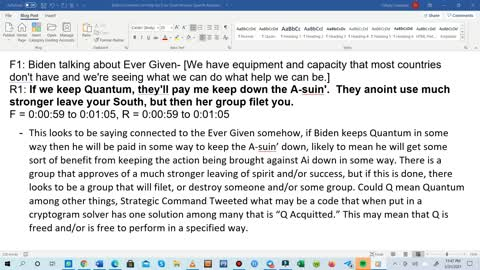 Evergreen, Biden, Quantum, and Destruction Reverse Speech