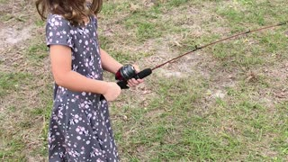 Fishing Surprise Send Little Girl Running - Video