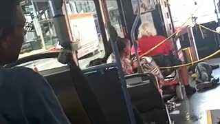 Bus driver makes guy fall on purpose