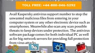 Kaspersky Antivirus Support Phone Number +44-800-046-5292 - Video