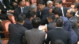 Tense moments in Japanese parliament