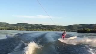 Collab copyright protection - wakeboard spreads arms wipeout dive - Video