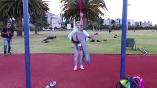 Young Girl Shows Great Talent On The Playground - Video