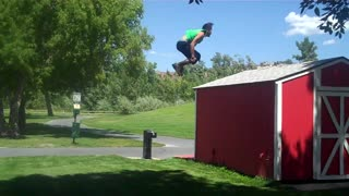 Collab copyright protection - green tank double flip off barn - Video