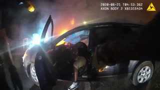 Driver Pulls Knife On Police Trying To Pull Him From Burning SUV