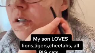Four year old gives mom a makeover