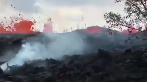 The lava sweeps the road and destroys in a scary sight
