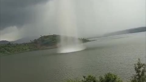 Spectacular Waterspout Touches Down in Rwandan Lake