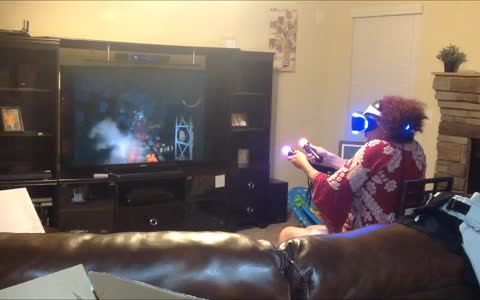 Grandma playing PlayStation VR completely freaks out!