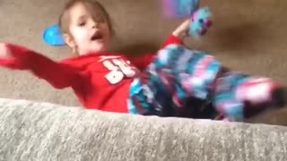 Collab copyright protection - girl toys troll couch fall fail