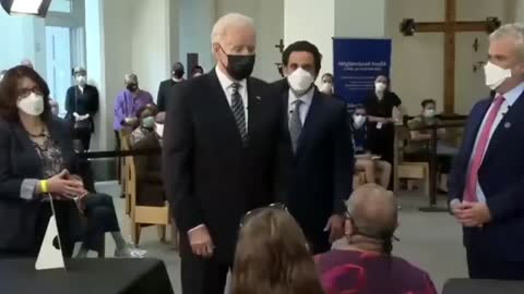 #JoeBiden leans inches from a person's face and tells them to socially distance.