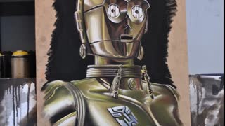 Hyperrealistic speed painting of C-3PO from Star Wars