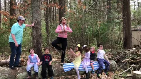 Yoga fail: Epic wipeout on log in front of kids