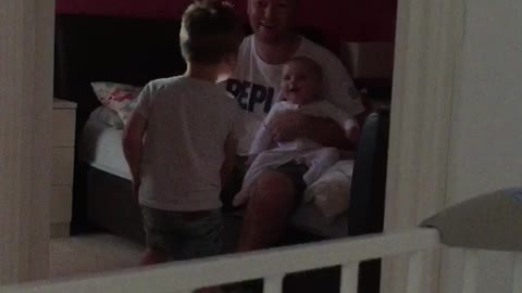Cutest ever! Bedtime giggles from baby Chloe when older brother Jayden plays boo