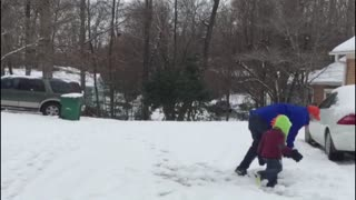 Boy gets nailed by massive snowball