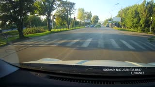 Driver Nearly Hits Girl and Wrecks Into Another Car