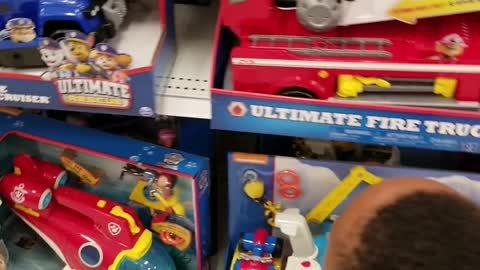 Letting my Grandson pick a Toy at Target